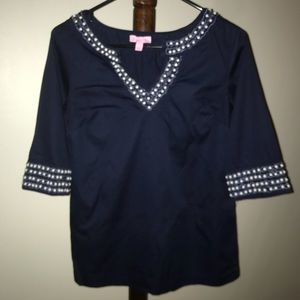 Lilly Pulitzer beaded blouse size 2